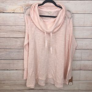 Sonoma 3X Pink Long Sleeve Cowl Neck Sweater